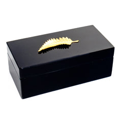 Medium Black Lacquer Box with Brass Leaf