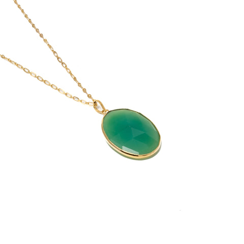 Faceted Green Chalcedony Necklace
