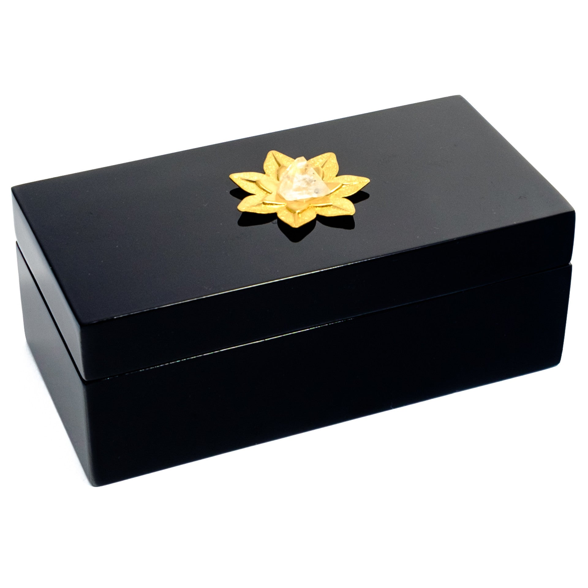 Medium Black Lacquer Box with Lotus Crystal