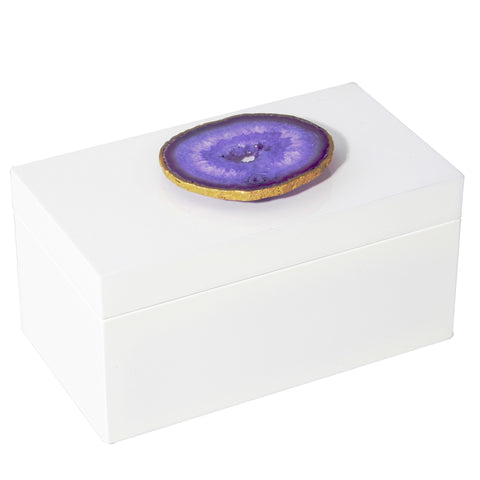 Large White Lacquer Box with Purple Agate