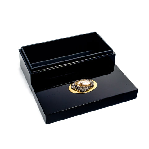 Medium Black Lacquer Box with Pav?_?̍Ì_Ì_åȉۡÌÝ_‰Û_?í´í«̴å© Stone