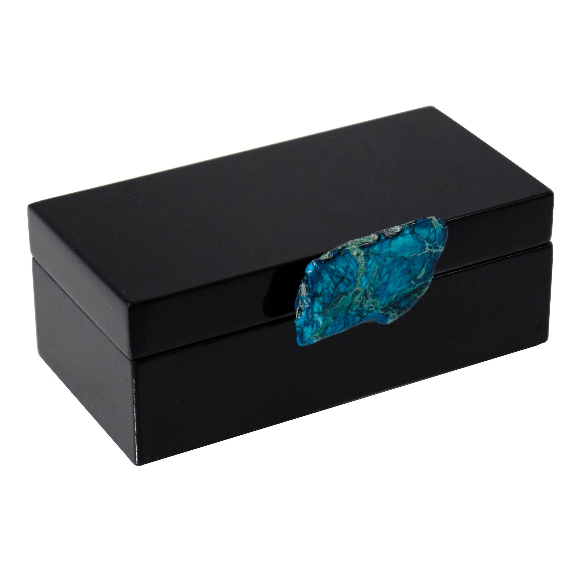 Medium Black Lacquer Box with Blue Jasper Knob