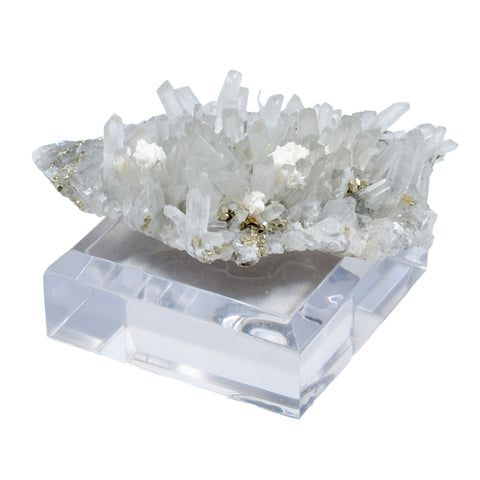 Pyrite and Quartz Specimen on Acrylic Stand