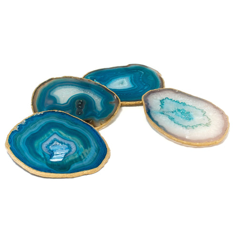 (set of 4) Gold Rimmed Teal Agate Coasters