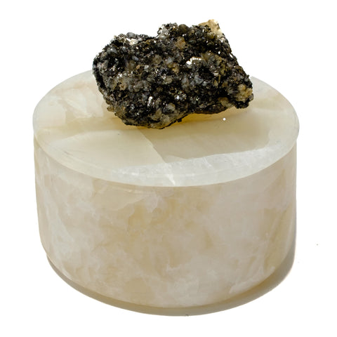 Small Round Onyx Box with Galena and Hematite