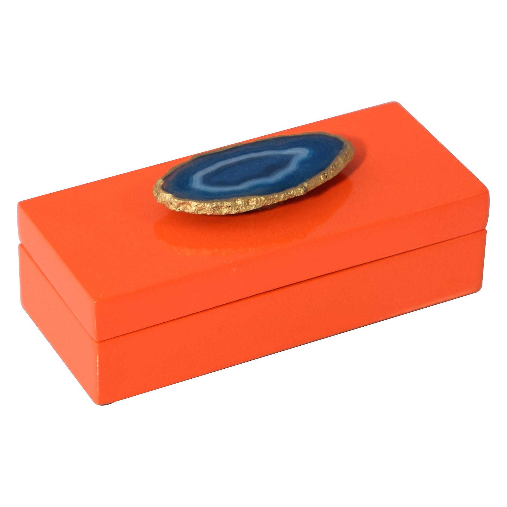 Small Orange Lacquer Box with Blue Agate