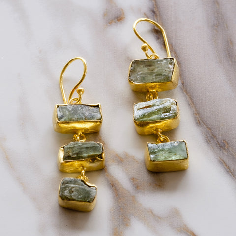 Green Kyanite Ladder Drop Earrings