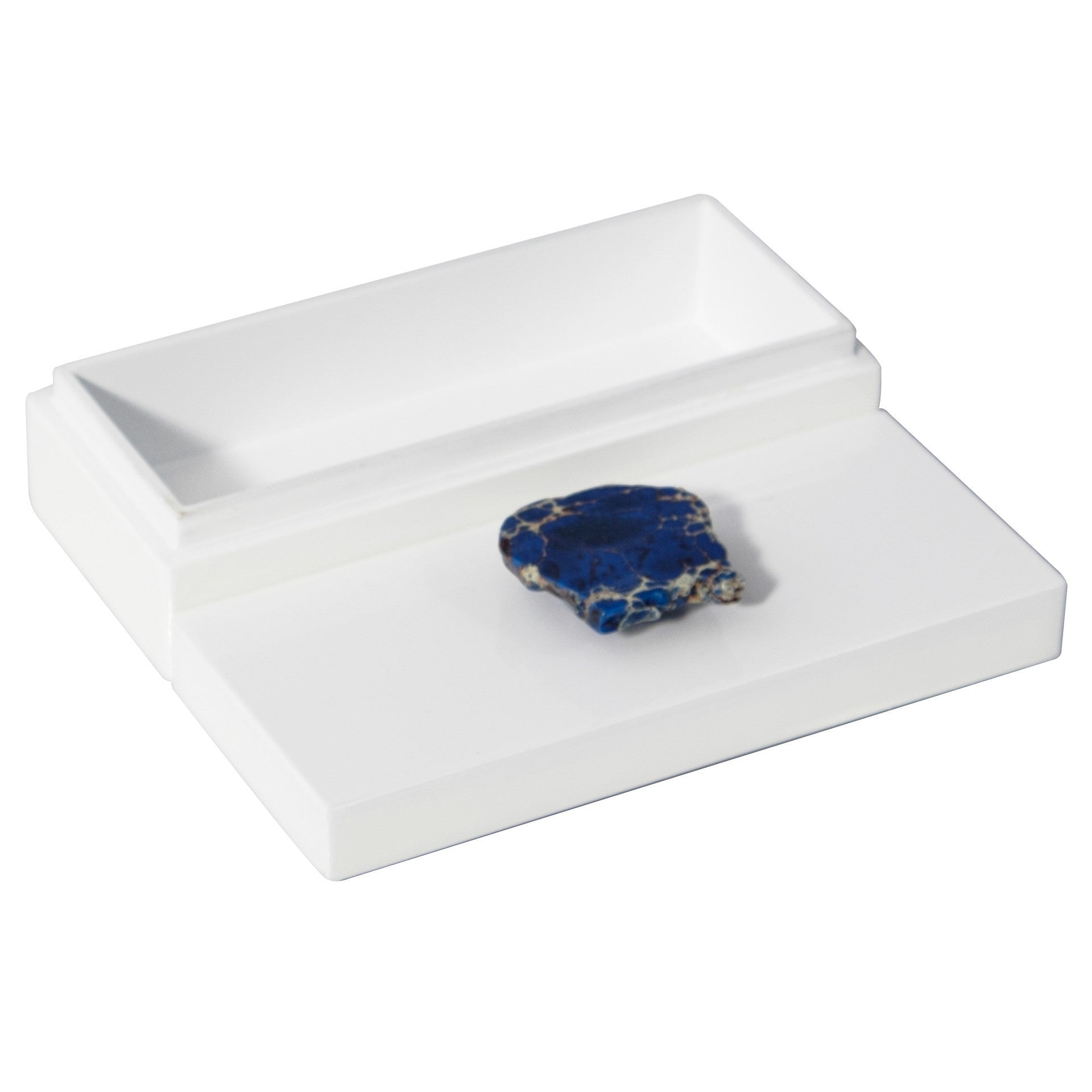 Small White Lacquer Box with Blue Jasper