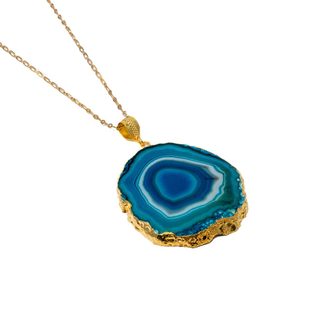 Blue Agate Pendant Necklace