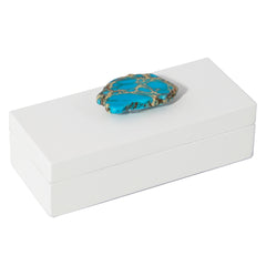 Small White Lacquer Box with Turquoise Jasper