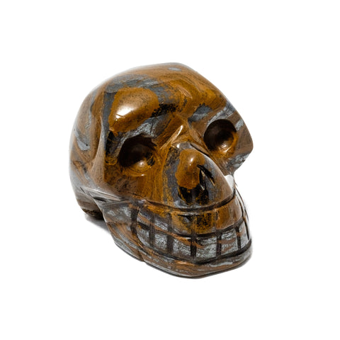 Polished Tiger's Eye Skull Figurine
