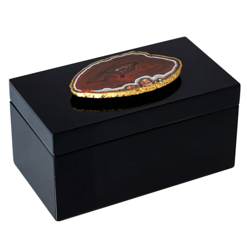 Large Black Lacquer Box with Natural Agate