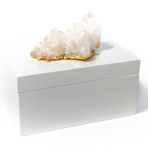 Large White Lacquer Box with Quartz