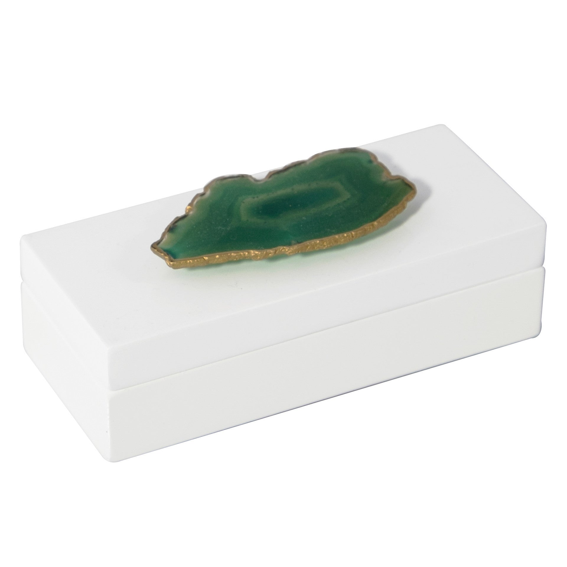Small White Lacquer Box with Green Agate