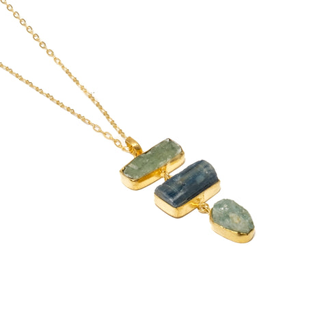 Two Kyanite and Aquamarine Necklace