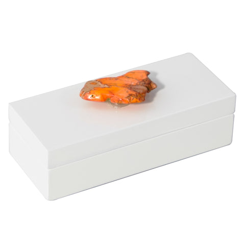 Small White Lacquer Box with Orange Jasper