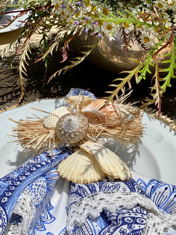 Seashells and Pearl Napkin Rings (Set of 4)