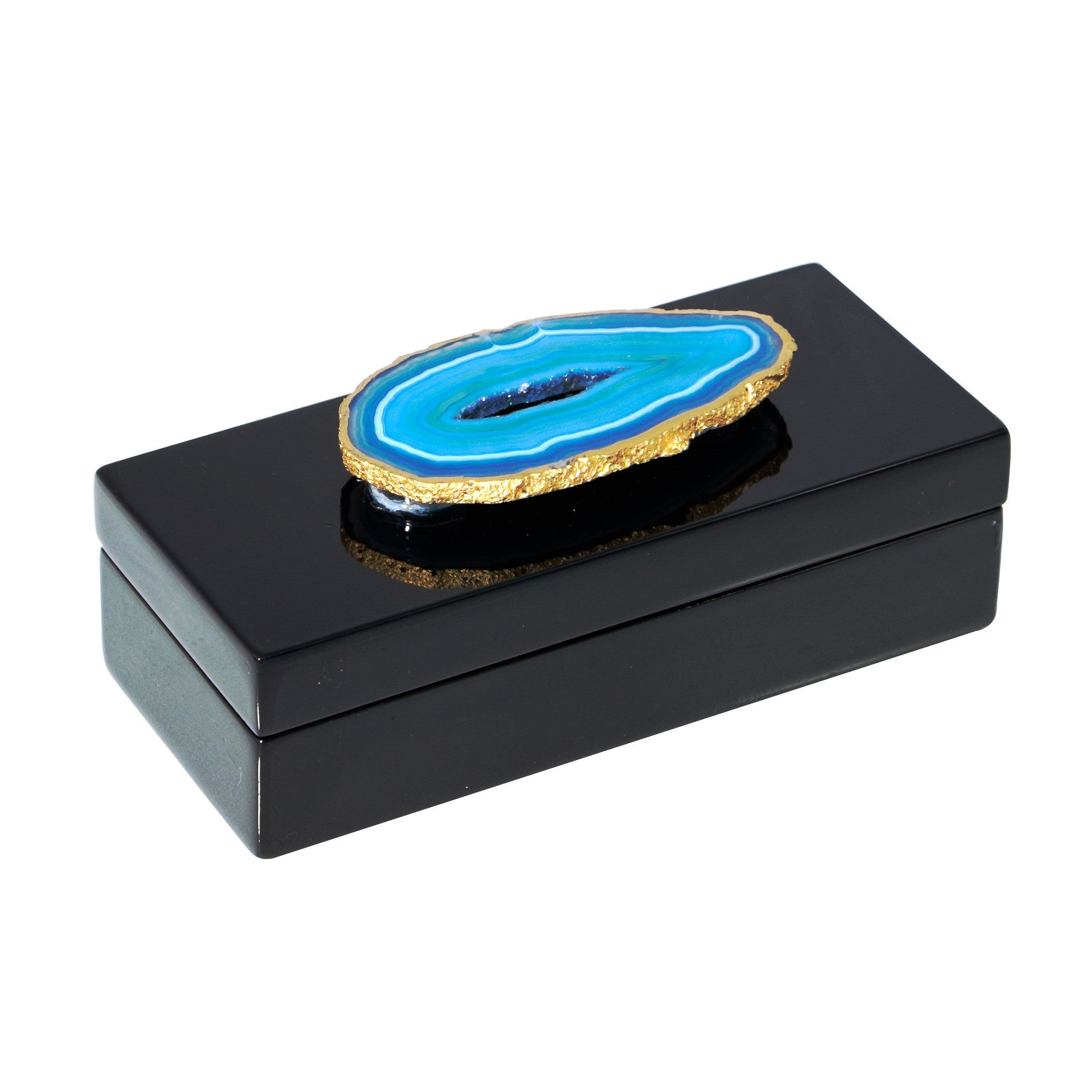 Small Black Lacquer Box with Blue Agate