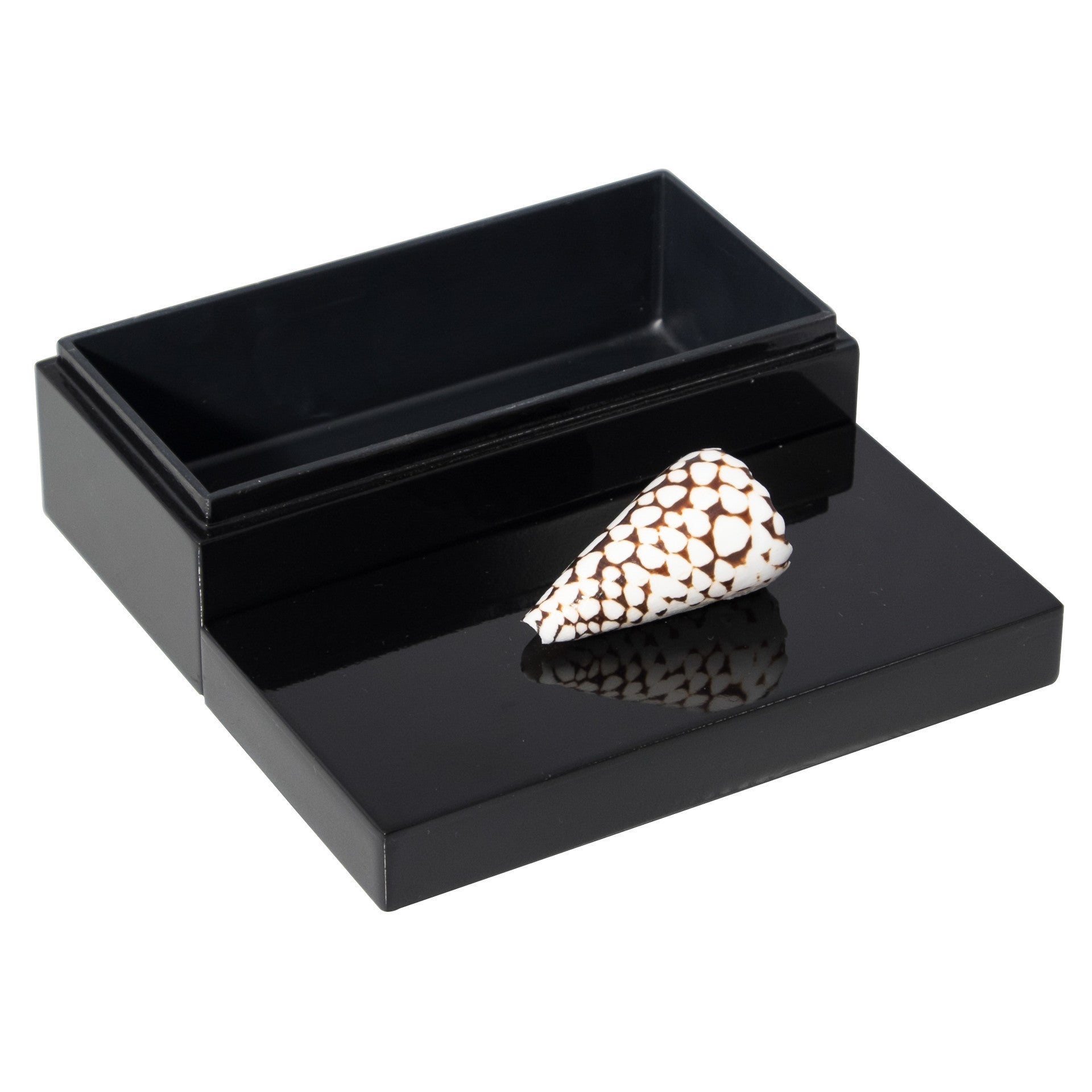 Medium Black Lacquer Box with Marbled Cone
