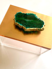 Rose Gold with Green Agate, Geode box, Ring Box, Jewelry Box, Reiki Box, Green Agate Box, Rose Gold Jewelry box