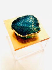 Ring Box in Rose Gold, Metallic rose gold gem box w/ Agate, Blue Agate, Jewelry Box, Gemstone Box, Geode box