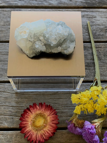Metallic gray gem box w/ apophyllite cluster crystal, Gift box, geode box, ring box, crystal box, gemstone box, apophyllite