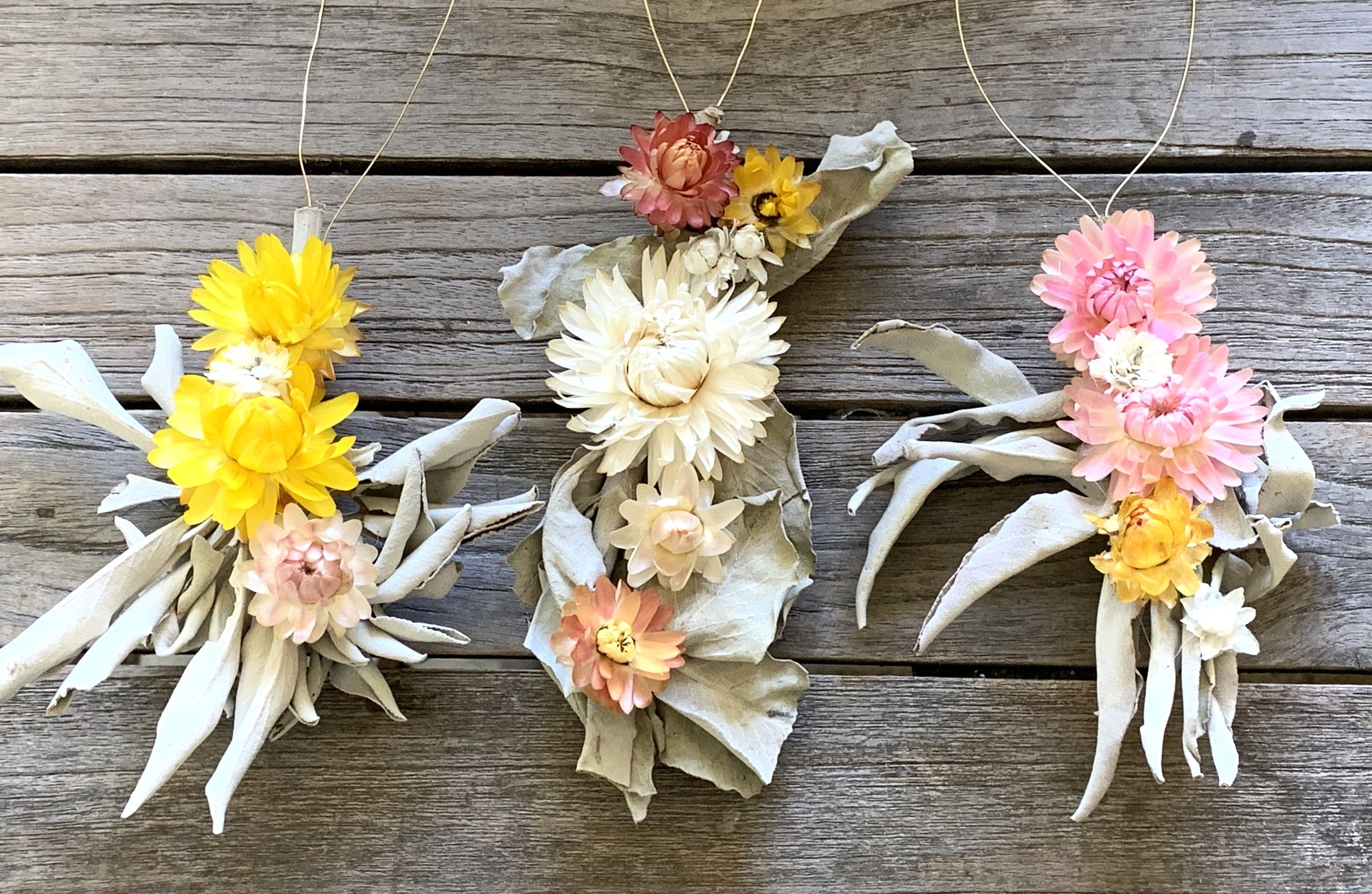 Sage wand ornaments w/ flowers, botanical ornaments, dried flower ornaments