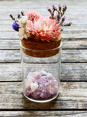 Amethyst Crystal Medicine Pots w/ dried flowers, Quartz, crystal quartz, crystal box, pill box, stash box, Straw flowers