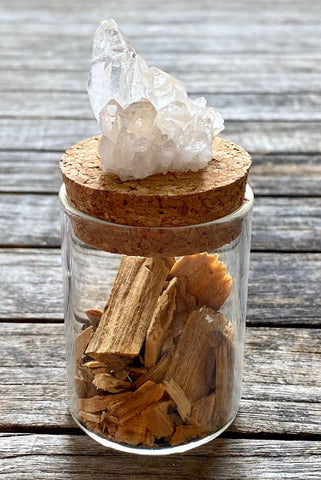 Crystal Medicine Pots w/ Quartz and Palo Santo incense, Quartz jar, Palo Santo, Quartz, crystal quartz, crystal box, pill box, stash box