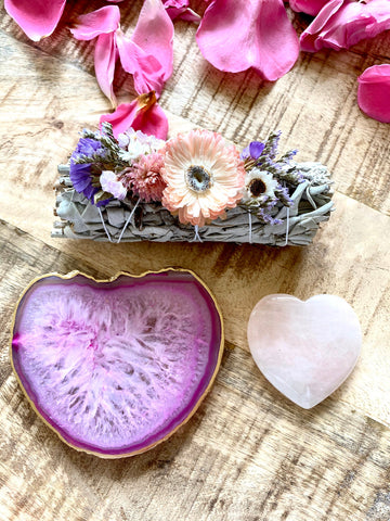 Smudge gift set, reiki gifts,  wellness gifts, sage sticks, agate tray, crystal gifts, Sage Stick, Agate, rose quartz heart