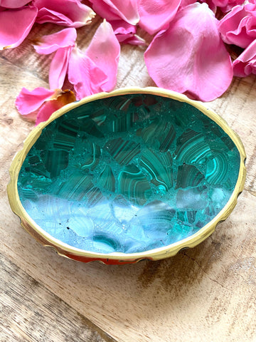 Oval Malachite catchall dish, malachite bowl, malachite soap dish, Stone bowl, Bathroom Decor, Home Decor, malachite, Ring dish, Ring Tray,
