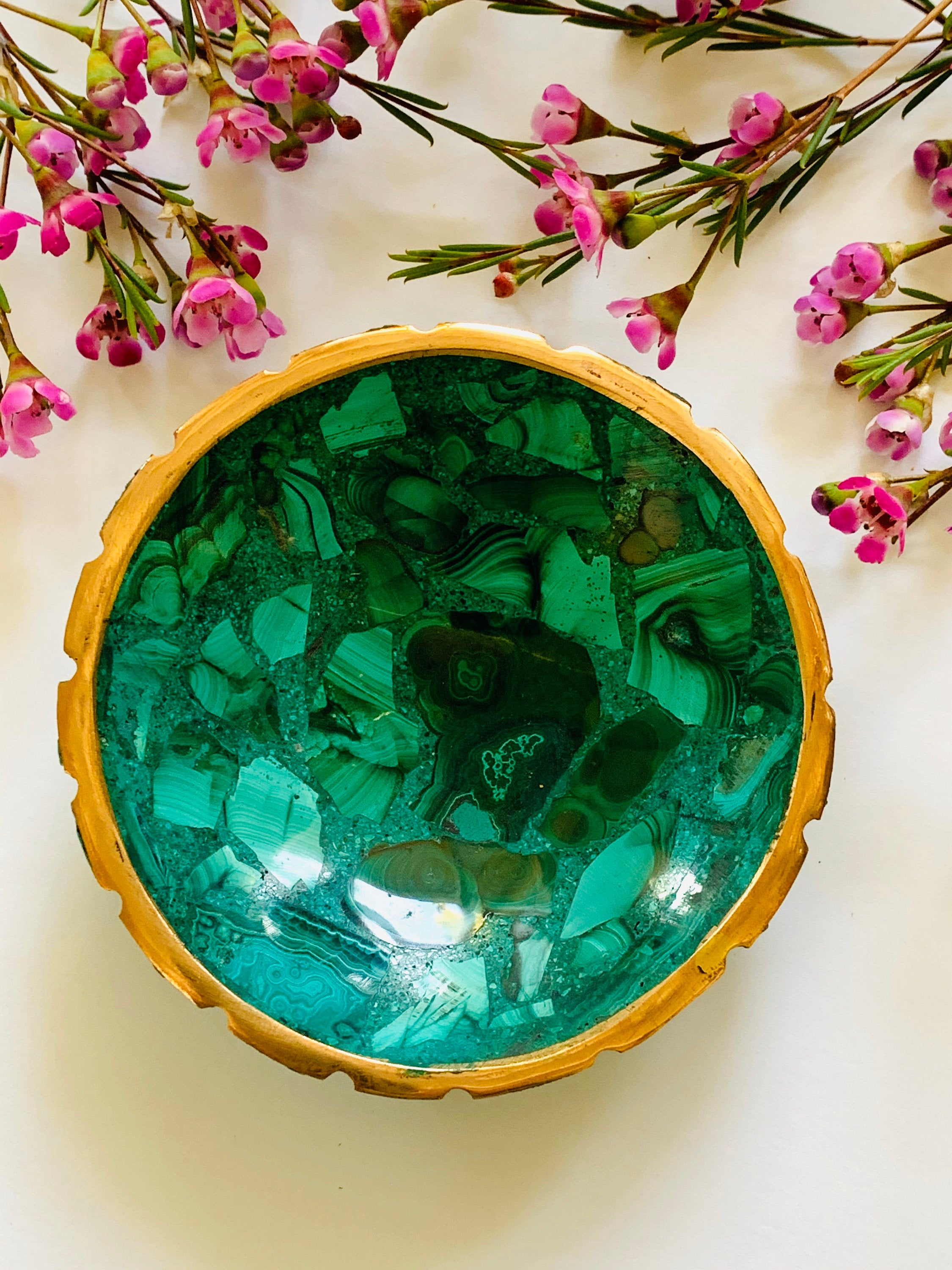 Malachite catchall dish, malachite bowl, malachite soap dish, Stone bowl, Bathroom Decor, Home Decor, malachite, Ring dish, Ring Tray,
