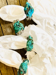 Chrysocolla Crystal napkin rings (set of 4), amethyst napkin rings, crystal napkin rings, tabletop decor, home decor, acrylic napkin rings