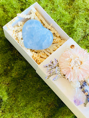 Crystal Gift Box, Heart Crystal Gift Box, Get Well Soon Crystal Gift Box, Self Care Package, Wellness Crystal Gift Box, Celestite Heart
