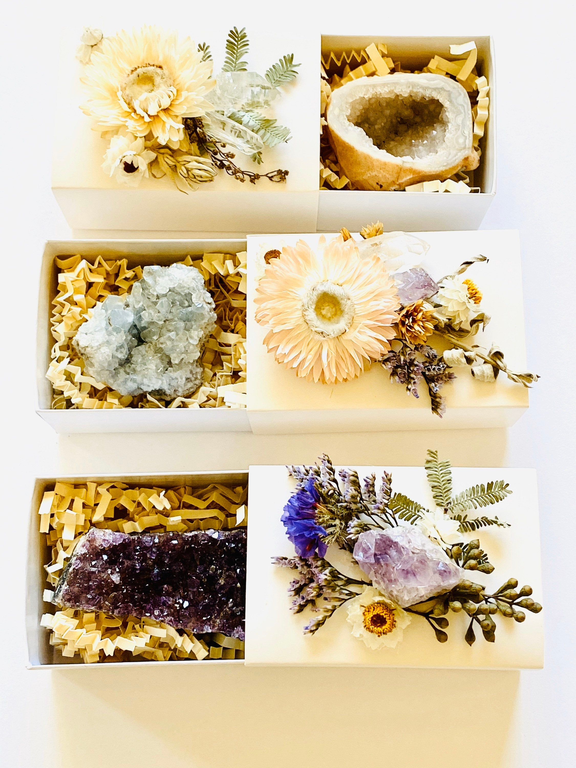 Crystal Gift Box, Geode Crystal Gift Box, Get Well Soon Crystal Gift Box, Self Care Package, Wellness Crystal Gift Box, Aragonite