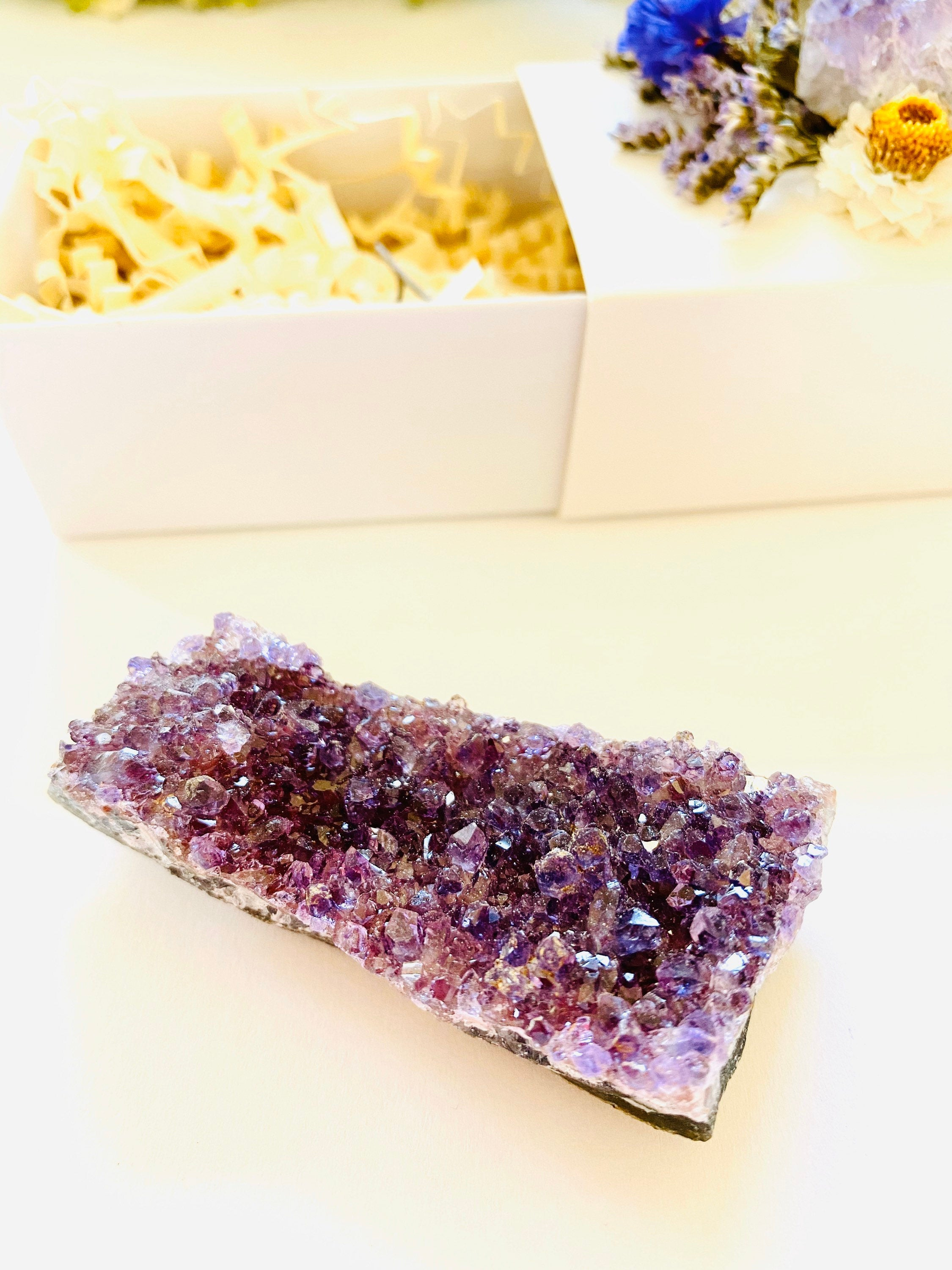 Crystal Gift Box, Geode Crystal Gift Box, Get Well Soon Crystal Gift Box, Self Care Package, Wellness Crystal Gift Box, Amethyst Crystal