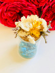 Chrysocolla Crystal Medicine Pots w/ dried flowers, Blue green crystal, Blue crystal, crystal box, pill box, stash box, Straw flowers