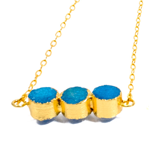 Three Dot Drusy Bar Necklace in Blue