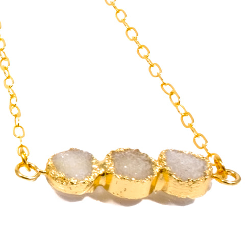 Drusy Three Bar Necklace in White