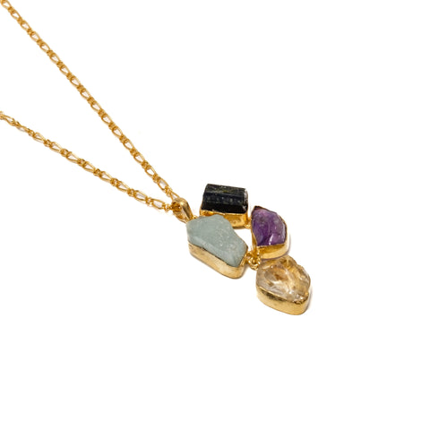 Four Gemstone Pendant Necklace