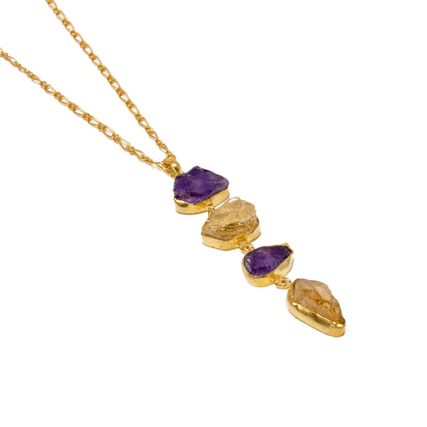 Citrine and Amethyst Gemstone Necklace
