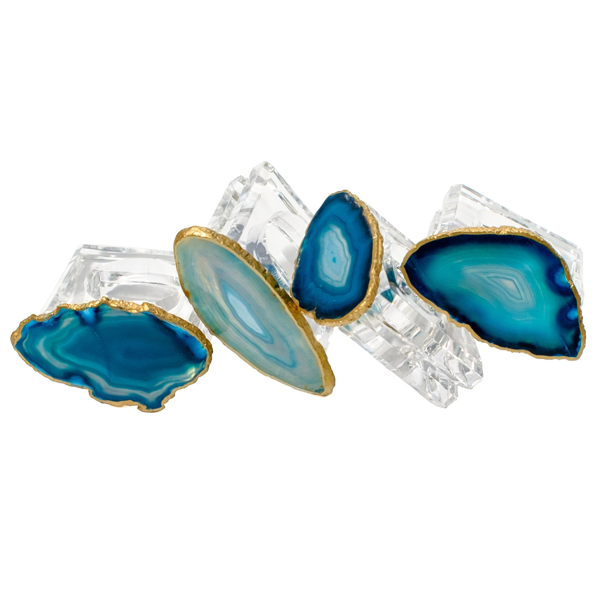 Teal Agate Napkin Rings