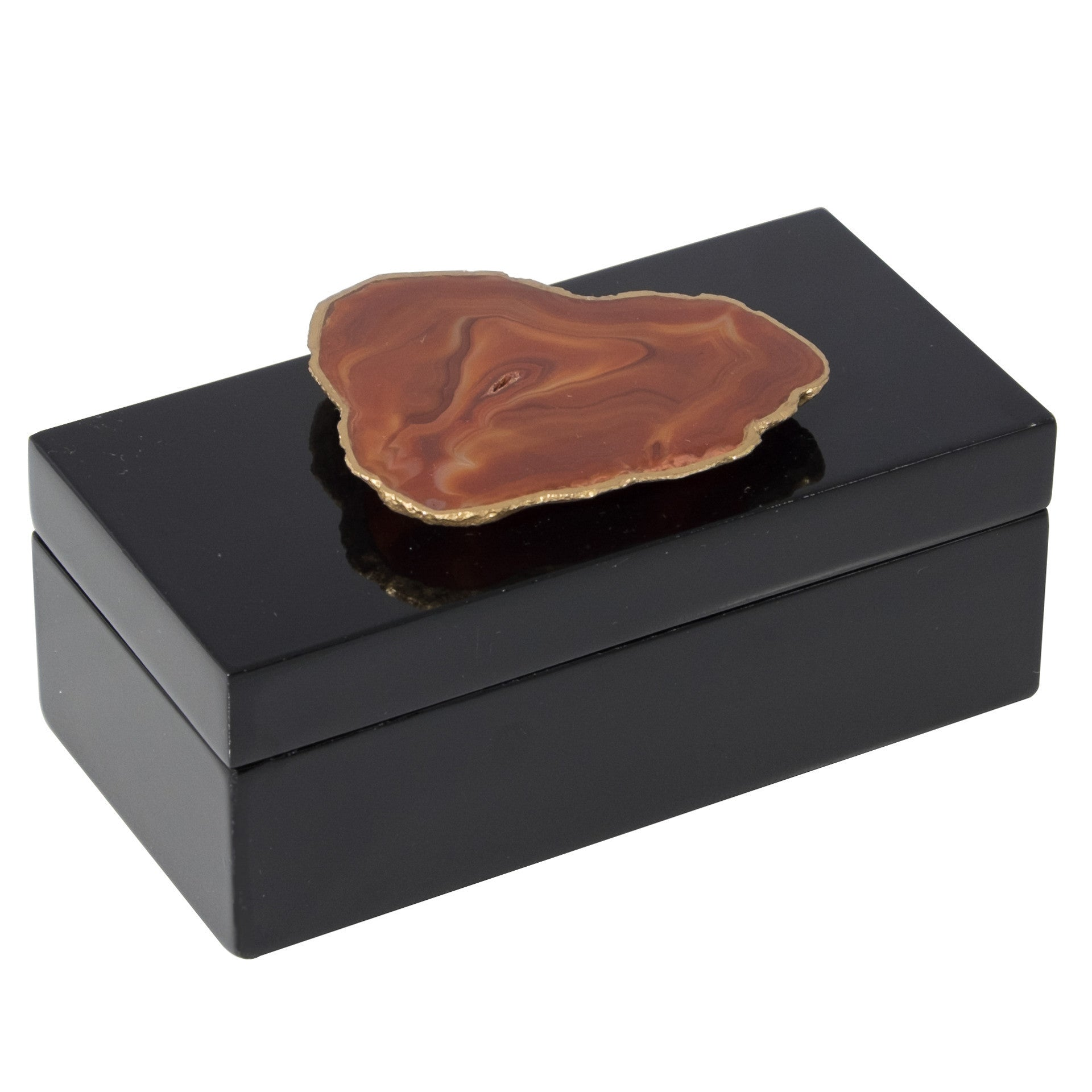 Medium Black Lacquer Box with Natural Agate