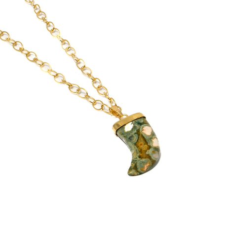 Small Ocean Jasper Horn Necklace