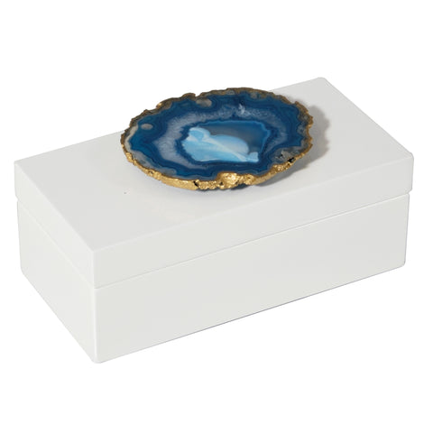 Medium White Lacquer Box with Blue Agate