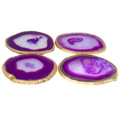 (set of 4) Gold Rimmed Purple Agate Coasters
