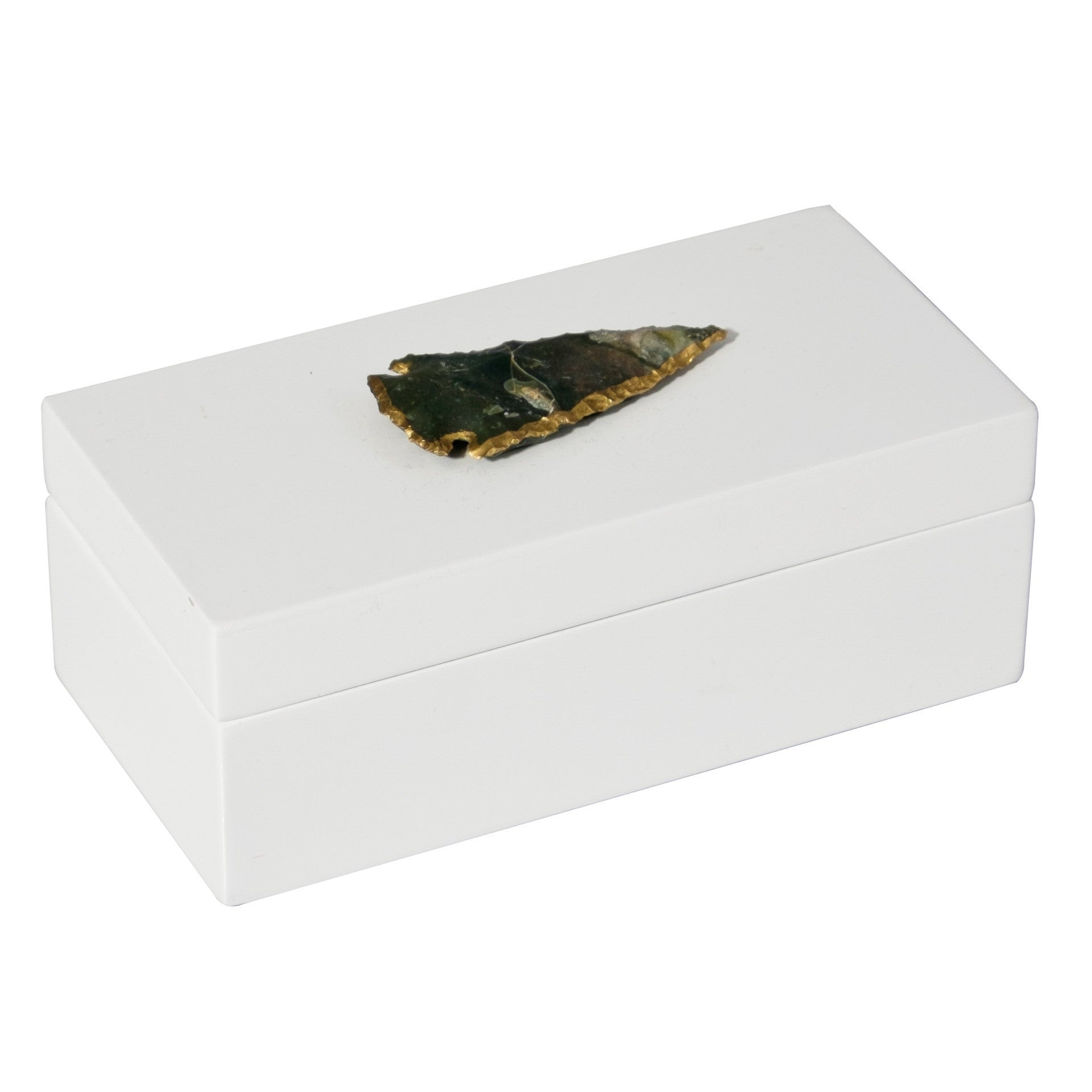 Medium White Lacquer Box with Agate Arrowhead