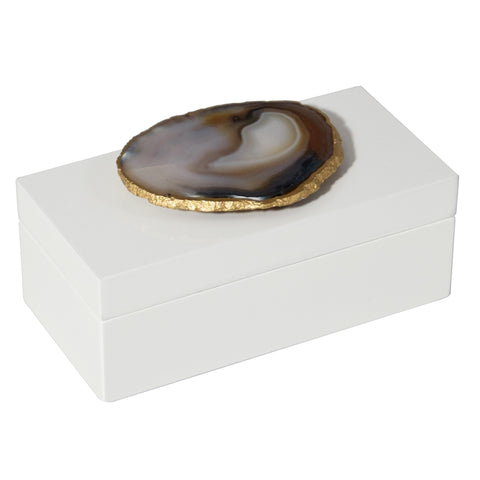 Medium White Lacquer Box with Natural Agate