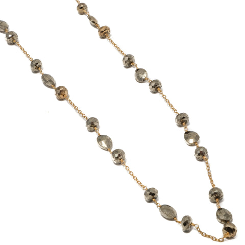 Pyrite Station Chain Necklace