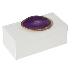 Medium White Lacquer Box with Purple Agate